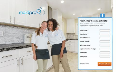 Screenshot of Landing Page maidpro.com captured May 2, 2017