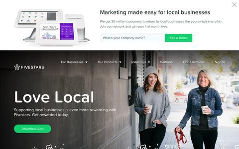 Screenshot of Home Page fivestars.com - Fivestars - Customer Loyalty Program - captured July 5, 2018