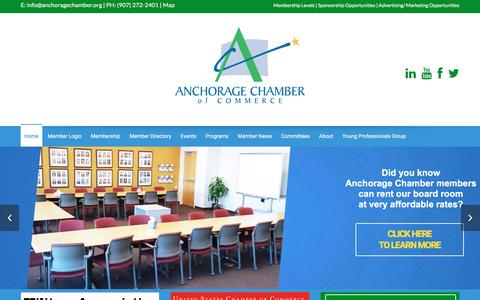 Screenshot of Home Page anchoragechamber.org - Home - The Anchorage Chamber of Commerce - captured Feb. 6, 2016