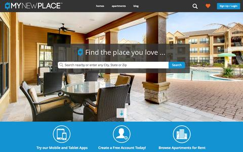 Screenshot of Home Page mynewplace.com - Search Apartments for Rent, Condos and Rental Homes | MyNewPlace - captured Sept. 16, 2014