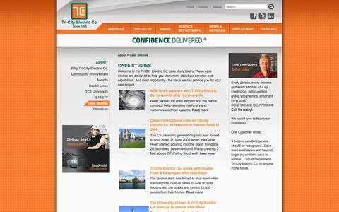 Screenshot of Case Studies Page tricityelectric.com - Tri-City Electric Case Studies - captured Oct. 7, 2014