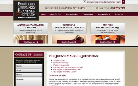 Screenshot of FAQ Page parrinjurylaw.com - FAQ | Indiana Persona Injury Lawyer - captured Oct. 1, 2014