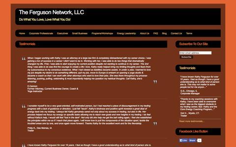 Screenshot of Testimonials Page thefergusonnetwork.com - The Ferguson Network, LLC - The Ferguson Network, LLC - captured Sept. 23, 2014