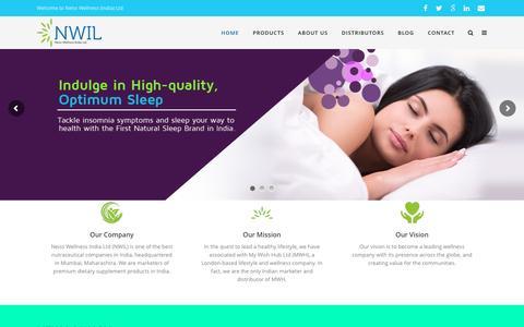 Screenshot of Home Page neisswellness.com - Health, Wellness and Lifestyle Company India - NWIL - captured Feb. 17, 2016