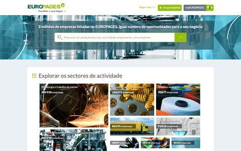 Screenshot of Home Page europages.pt - Pesquisar empresas, produtos e serviços b2b a nível internacional - EUROPAGES - captured Sept. 28, 2018