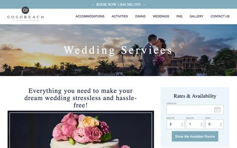 Screenshot of Services Page sandypointresorts.com - Wedding Planning and Services | Coco Beach Resort - captured Nov. 8, 2016