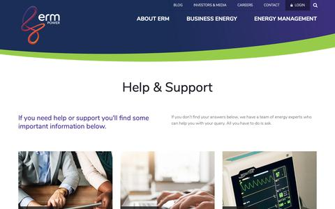 Screenshot of Support Page ermpower.com.au - Help & Support - ERM Power - captured Nov. 4, 2018