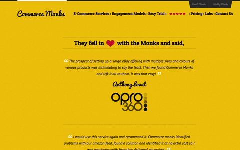 Screenshot of Testimonials Page commercemonks.com - Commers Monks - captured Oct. 28, 2014
