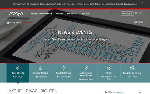 Screenshot of Press Page avaya.com - News und Events - captured March 1, 2018