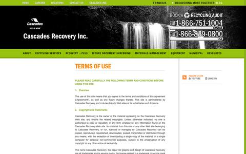 Screenshot of Terms Page recoverycascades.com - Terms of use   Cascades Recovery Inc - captured Oct. 9, 2014
