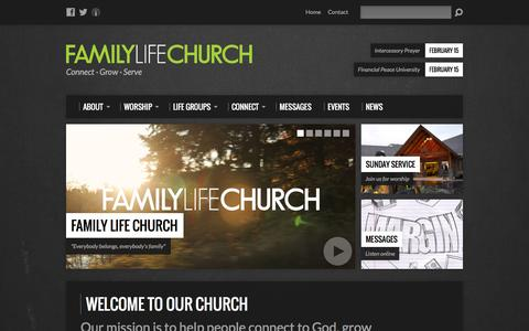 Screenshot of Home Page myflc.org - Family Life Church - Welcome To Our Church - captured Feb. 9, 2016