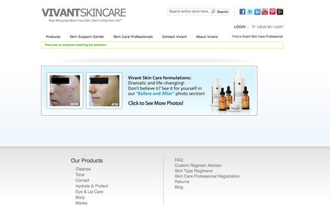 Screenshot of Products Page vivantskincare.com - Products - captured Oct. 26, 2014