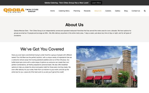 Screenshot of About Page qdobamn.com - About Us | QDOBA Catering - Twin Cities Group | Catering Delivery - captured Sept. 27, 2018