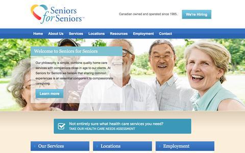 Screenshot of Home Page seniorsforseniors.ca - Home Care - Seniors for Seniors - captured Sept. 21, 2018