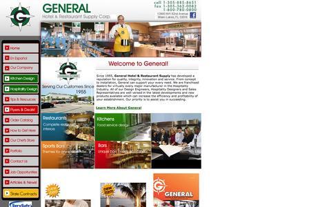 Screenshot of Home Page generalhotel.com - General Hotel & Restaurant Supply - captured Oct. 2, 2014