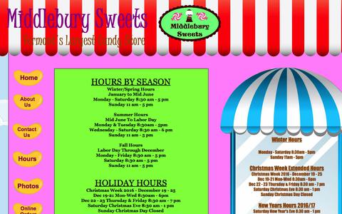 Screenshot of Hours Page middleburysweets.com - Hours - captured June 10, 2017