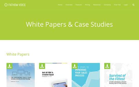 Screenshot of Case Studies Page fathomvoice.com - White Papers & Case Studies - Fathom Voice - captured Feb. 9, 2016