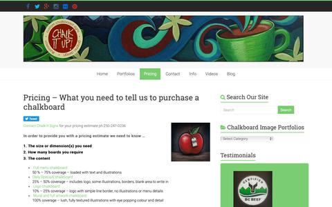Screenshot of Pricing Page chalkitupsigns.com - Pricing - What you need to tell us to purchase a chalkboard - Chalk It Up Signs - captured Nov. 10, 2018