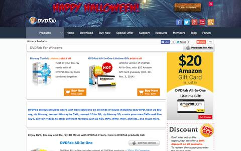Screenshot of Products Page dvdfab.cn - DVDFab Products for Windows - the best DVD copy, DVD ripper, Blu-ray copy, Blu-ray ripper Software for DVD, Blu-ray and Blu-ray 3D - captured Oct. 29, 2014