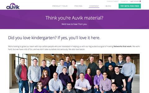 Screenshot of Jobs Page auvik.com - Careers and Jobs at Auvik Networks | Auvik Networks - captured Oct. 31, 2014