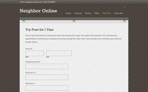 Screenshot of Trial Page neighboronline.net - Request Trial - Neighbor Online - captured Aug. 12, 2016