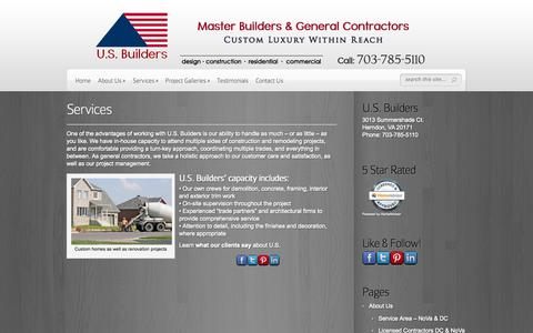 Screenshot of Services Page usbuilders.us - Services - Master Builders & General Contractors | U.S. Builders - Master Builders & General Contractors - captured Oct. 3, 2014