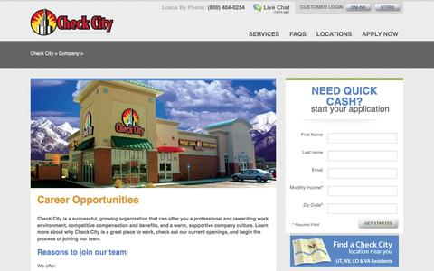 Screenshot of Jobs Page checkcity.com - Check City Employment Opportunities, Start a Check City Career - captured May 16, 2017