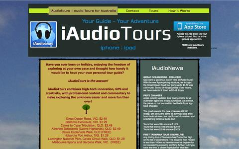 Screenshot of Home Page iaudiotours.com.au - iaudiotours, Audio Tours Australia, iPhone app in Australia - captured Sept. 30, 2014