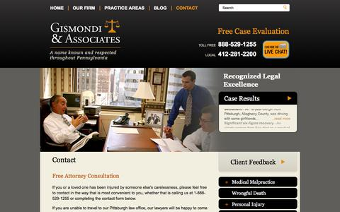 Screenshot of Contact Page gislaw.com - Contact   The Law Offices of Gismondi & Associates   Pittsburgh, Pennsylvania - captured Nov. 5, 2014