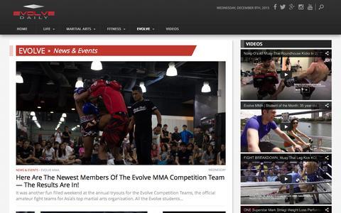 Screenshot of Press Page evolve-mma.com - News & Events Archives - Evolve Daily - captured Dec. 9, 2015