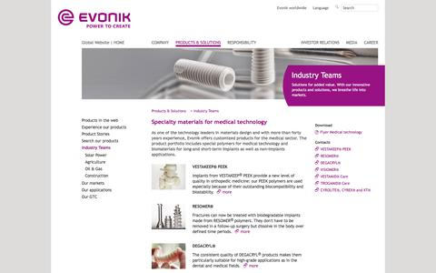 Medical technology - Industry Teams - Evonik Industries - Specialty Chemicals