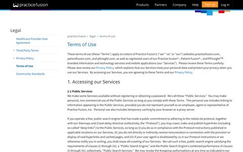 Screenshot of Terms Page practicefusion.com - Practice Fusion | Terms of Use - captured June 16, 2015