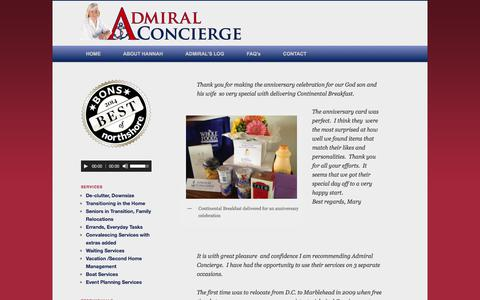 Screenshot of Testimonials Page admiralconcierge.com - Testimonials - captured Oct. 7, 2017