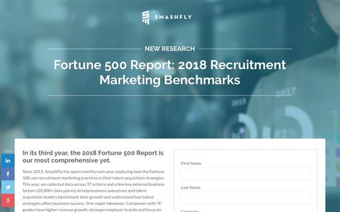 Screenshot of Landing Page smashfly.com - SmashFly's 2018 Recruitment Marketing Benchmarks Report - captured Feb. 8, 2019