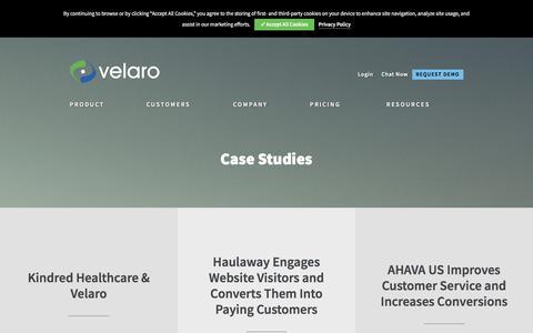 Screenshot of Case Studies Page velaro.com - Case Studies Archive - Velaro Live Chat Software - captured Sept. 21, 2018