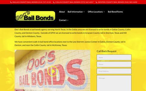 Screenshot of Home Page docsbailbonds.com - Doc's Bail Bonds Dallas | Collin | Denton - Get Out of Jail Now 24/7 - captured June 4, 2017