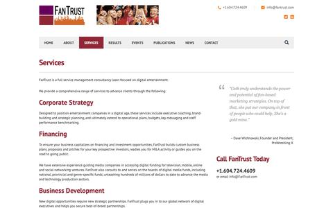 Screenshot of Services Page fantrust.com - Services - FanTrust — Entertainment management consulting for a digital world. - captured Oct. 10, 2018