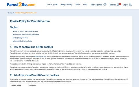 Cookie Policy   Parcel2Go.com