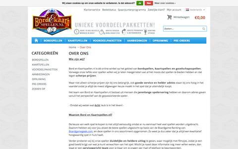 Screenshot of About Page bordenkaartspellen.nl - Over Ons - captured Oct. 5, 2014