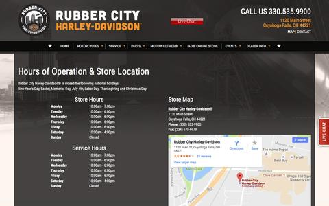 Screenshot of Maps & Directions Page rubbercityharley.com - Hours and Location | Rubber City Harley-Davidson® | Cuyahoga Falls Ohio - captured Dec. 1, 2016