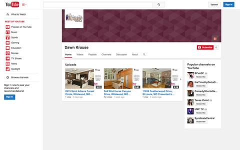 Screenshot of YouTube Page youtube.com - Dawn Krause  - YouTube - captured Oct. 26, 2014
