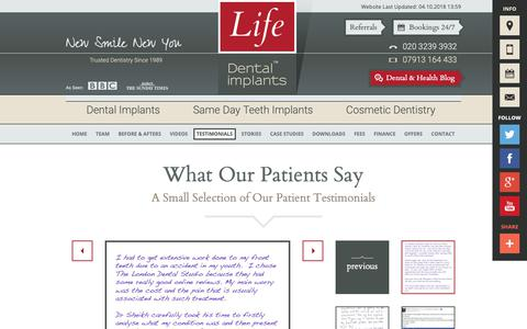 Screenshot of Testimonials Page lifedentalimplants.co.uk - What Our Patients Say | Life Dental Implants - captured Oct. 6, 2018