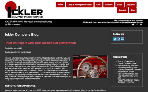 Screenshot of Blog ickler.com - Ickler Company Blog - captured Oct. 6, 2014