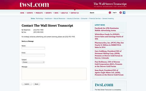 Screenshot of Contact Page twst.com - The Wall Street Transcript - captured Sept. 22, 2014