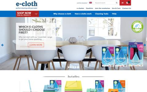 Screenshot of Home Page e-cloth.com - e-cloth - Perfect cleaning with just water using unique microfibres - captured Oct. 21, 2018