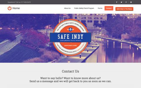 Screenshot of Contact Page safeindy.com - Safe Indy - captured Feb. 2, 2016