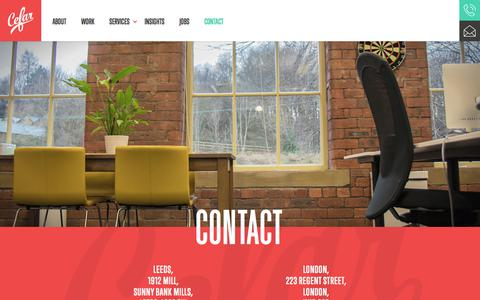 Screenshot of Contact Page cefar.co.uk - Cefar - Contact - Digital Agency Leeds & London - captured July 22, 2017
