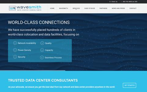 Screenshot of Home Page wavesmith.com - Wave Smith | Data Center Consultants - captured Aug. 2, 2015