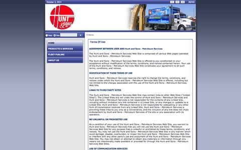 Screenshot of Terms Page huntnsons.com - Hunt and Sons - Petroleum Services > Home - captured Oct. 3, 2014