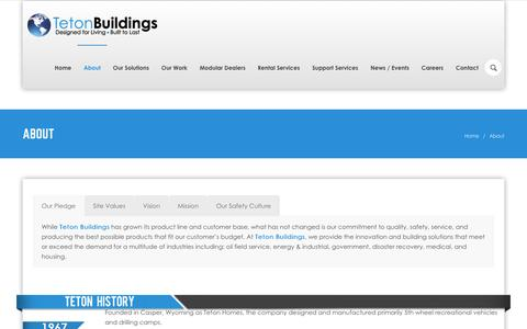 Screenshot of About Page FAQ Page Locations Page tetonbuildings.com - Modular Housing Solutions since 1967 - Teton Buildings  »  Teton Buildings - captured Feb. 28, 2016